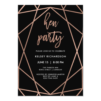 Hen Party | Faux Rose Gold Geometric on Black Card