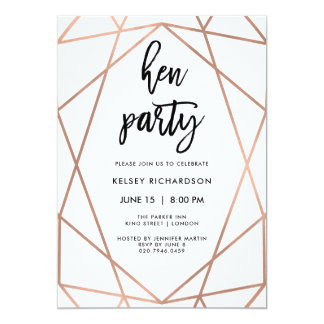 Hen Party | Faux Rose Gold Geometric on White Card
