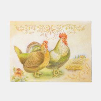 Hen & rooster doormat set in Italian countryside.