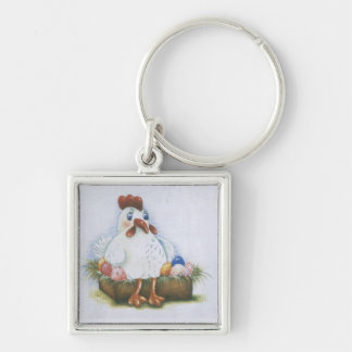 Hen with eggs Silver-Colored square keychain