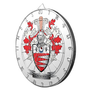 Henderson Family Crest Coat of Arms Dartboard