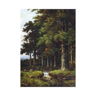 Hendrik Pieter Koekkoek A Forest Stream Canvas Print