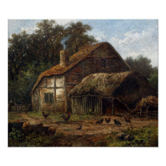Hendrik Pieter Koekkoek Thatched Barn with Chicken Poster