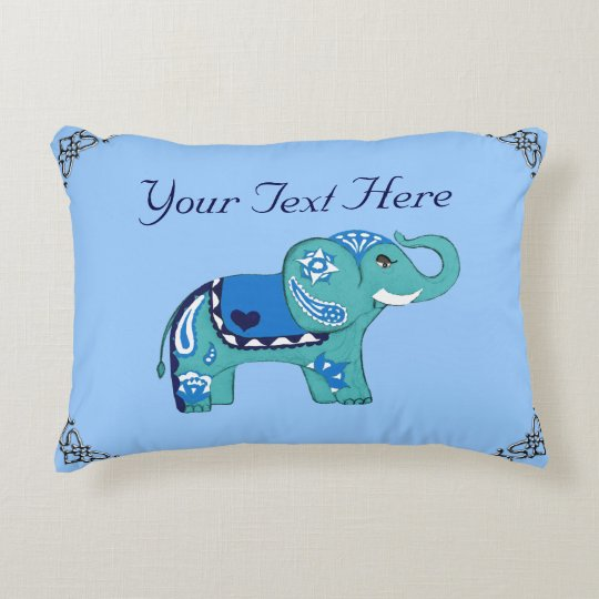 Henna Elephant (Blue/Light Blue) Accent Pillow