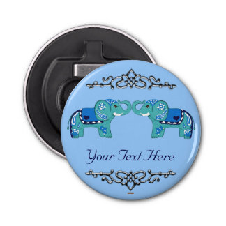 Henna Elephant (Blue/Light Blue) Bottle Opener