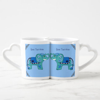 Henna Elephant (Blue/Light Blue) Coffee Mug Set