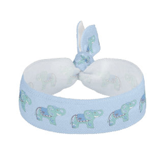 Henna Elephant (Blue/Light Blue) Hair Tie