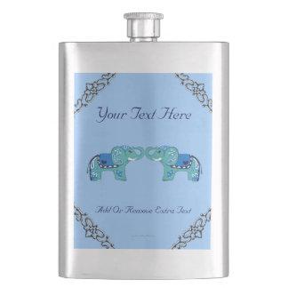 Henna Elephant (Blue/Light Blue) Hip Flask