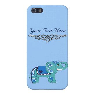 Henna Elephant (Blue/Light Blue) iPhone 5 Cover