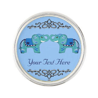 Henna Elephant (Blue/Light Blue) Lapel Pin
