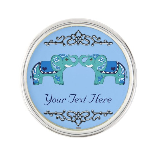Henna Elephant (Blue/Light Blue) Lapel Pin