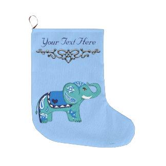 Henna Elephant (Blue/Light Blue) Large Christmas Stocking