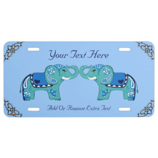 Henna Elephant (Blue/Light Blue) License Plate