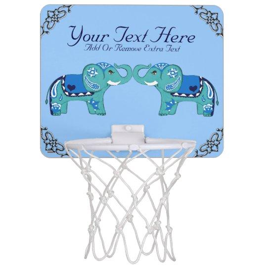 Henna Elephant (Blue/Light Blue) Mini Basketball Hoop