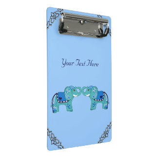 Henna Elephant (Blue/Light Blue) Mini Clipboard