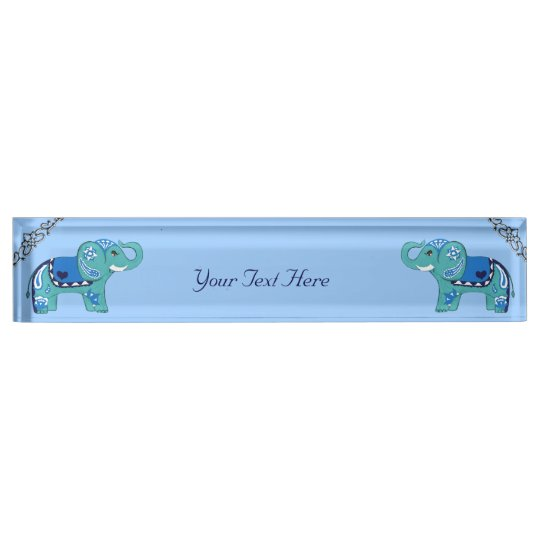 Henna Elephant (Blue/Light Blue) Nameplate