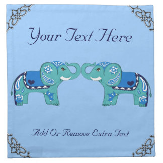 Henna Elephant (Blue/Light Blue) Napkin