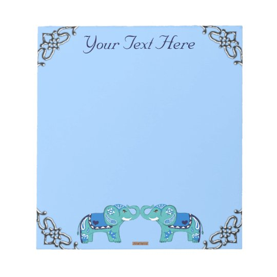 Henna Elephant (Blue/Light Blue) Notepad