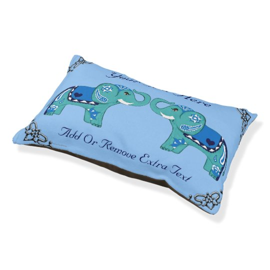 Henna Elephant (Blue/Light Blue) Pet Bed
