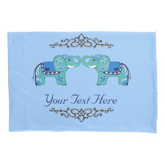 Henna Elephant (Blue/Light Blue) Pillowcase