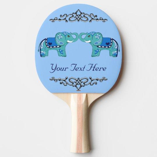 Henna Elephant (Blue/Light Blue) Ping Pong Paddle