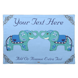 Henna Elephant (Blue/Light Blue) Placemat