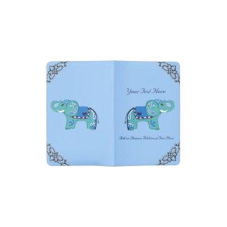 Henna Elephant (Blue/Light Blue) Pocket Moleskine Notebook
