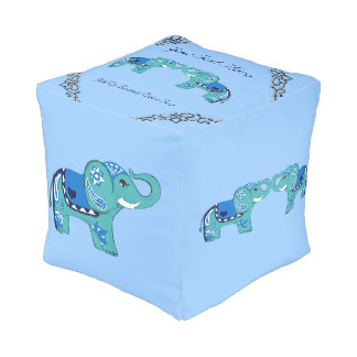Henna Elephant (Blue/Light Blue) Pouf