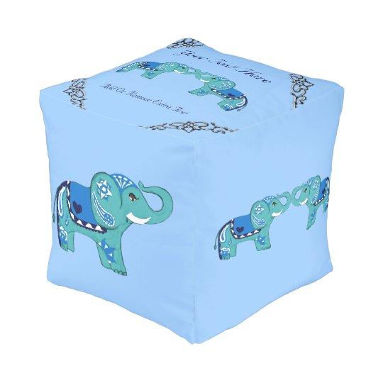 Henna Elephant (Blue/Light Blue) Pouf