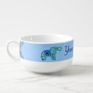 Henna Elephant (Blue/Light Blue) Soup Mug