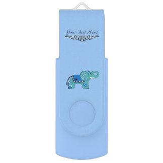 Henna Elephant (Blue/Light Blue) USB Flash Drive