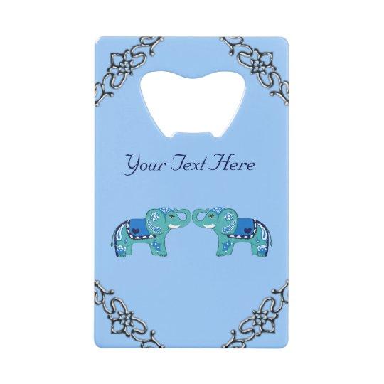 Henna Elephant (Blue/Light Blue) Wallet Bottle Opener