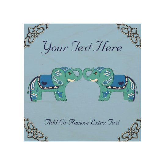 Henna Elephant (Blue/Light Blue) Wood Print