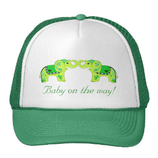 Henna Elephant (Green/Lime Green) (Baby Shower) Trucker Hat