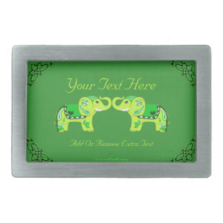 Henna Elephant (Green/Lime Green) Belt Buckles
