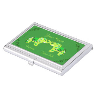 Henna Elephant (Green/Lime Green) Business Card Holder