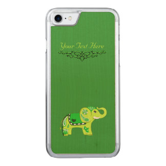 Henna Elephant (Green/Lime Green) Carved iPhone 8/7 Case