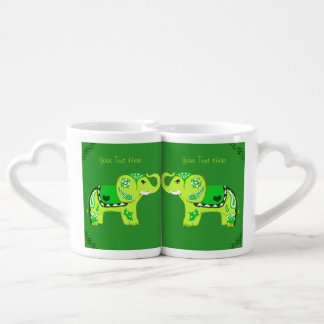 Henna Elephant (Green/Lime Green) Coffee Mug Set