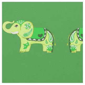 Henna Elephant (Green/Lime Green) Fabric