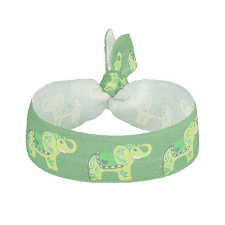 Henna Elephant (Green/Lime Green) Hair Tie