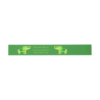 Henna Elephant (Green/Lime Green) Invitation Belly Band
