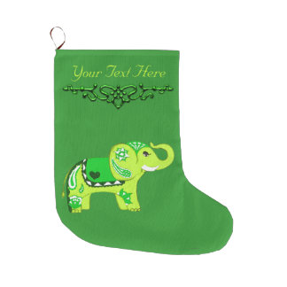 Henna Elephant (Green/Lime Green) Large Christmas Stocking