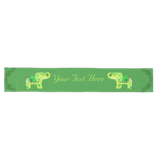 Henna Elephant (Green/Lime Green) Long Table Runner