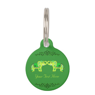 Henna Elephant (Green/Lime Green) Pet ID Tag