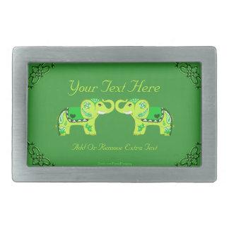 Henna Elephant (Green/Lime Green) Rectangular Belt Buckle