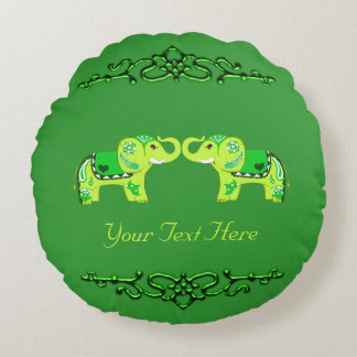 Henna Elephant (Green/Lime Green) Round Pillow