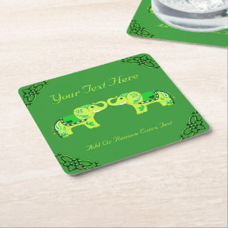 Henna Elephant (Green/Lime Green) Square Paper Coaster