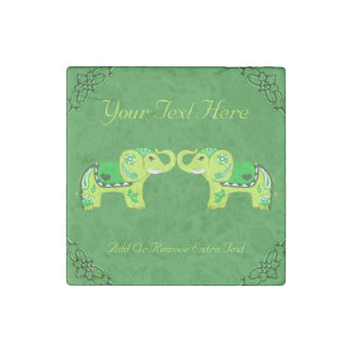 Henna Elephant (Green/Lime Green) Stone Magnets