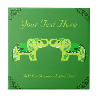 Henna Elephant (Green/Lime Green) Tile