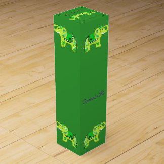 Henna Elephant (Green/Lime Green) Wine Gift Box